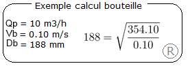 Exemple calcul DN bouteille